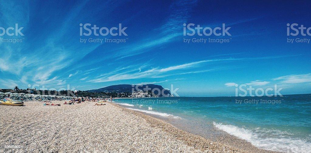Beach of Numana, Conero, Marche stock photo