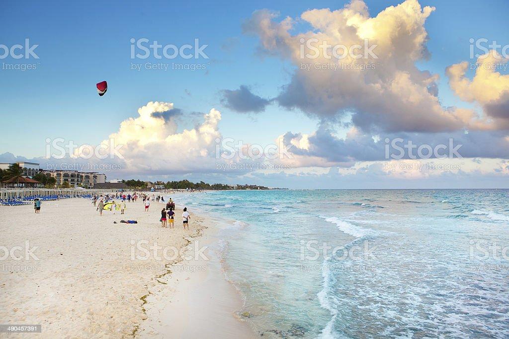 Beach of Playa Del Carmen Riviera Maya Mexico stock photo