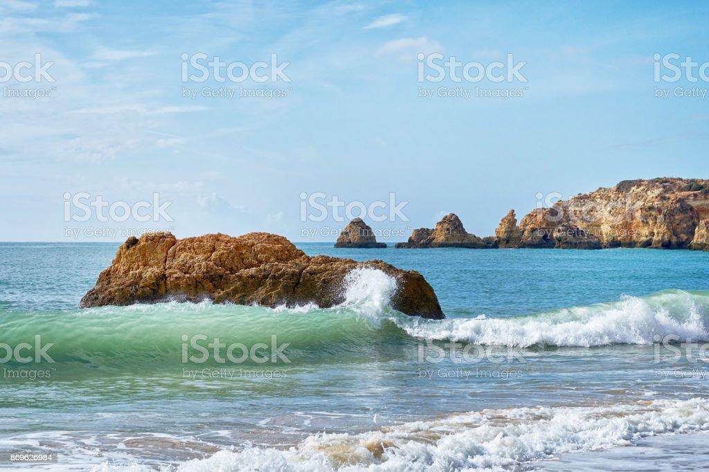 beach of Portimao, Atlantic Ocean - fotografia de stock