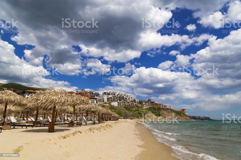 Beach of resort Saint Vlas at the Bulgarian Black Sea coast stock photo