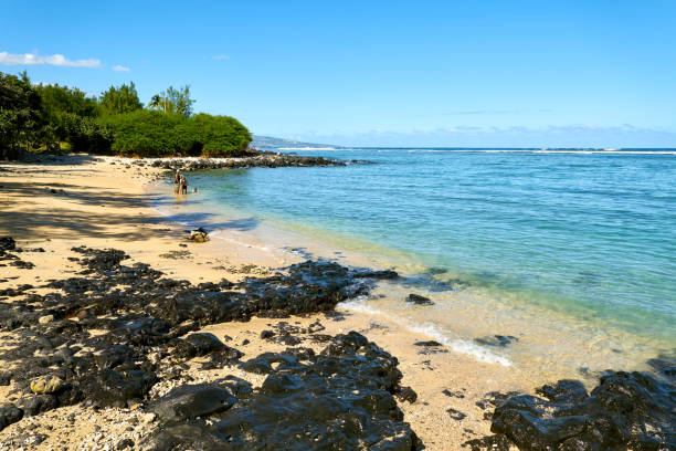 strand van reunion, zoute les bains, réunion - infuusoplossing stockfoto's en -beelden