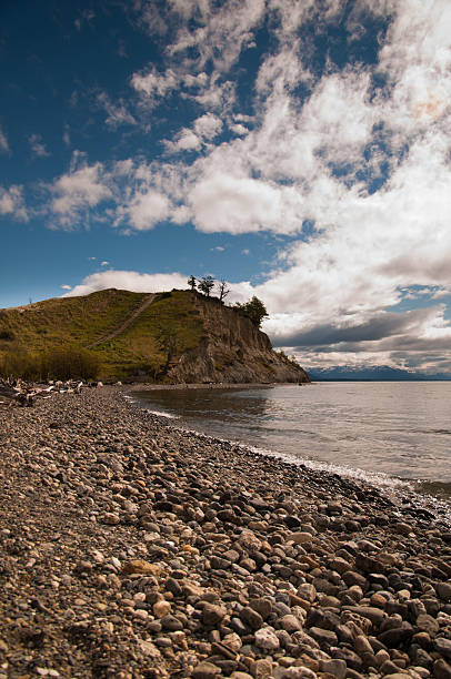 Playa de rocas en ushuaia patagonia, argentina - foto de stock