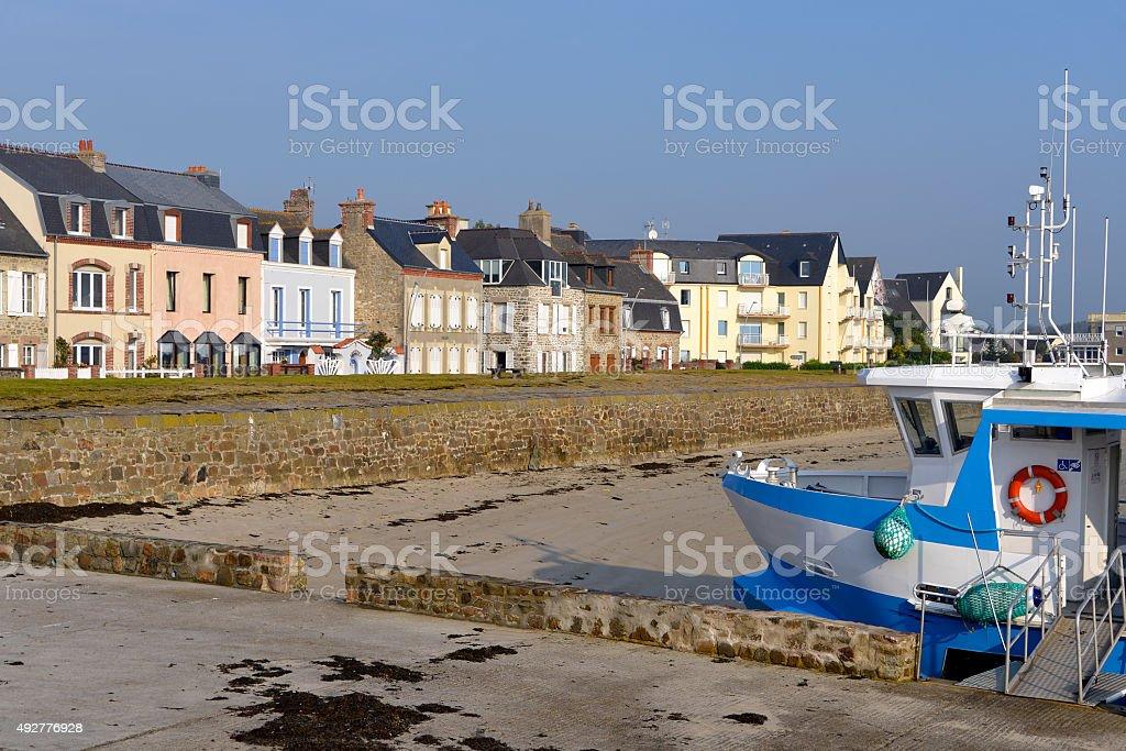 Beach of Saint-Vaast-la-Hougue in France stock photo