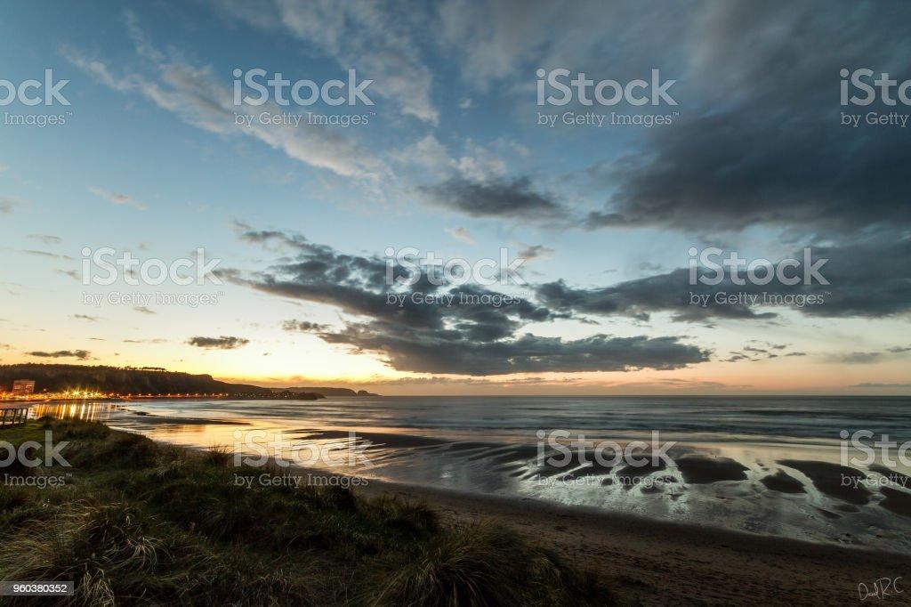 Beach of San Juan in Aviles stock photo
