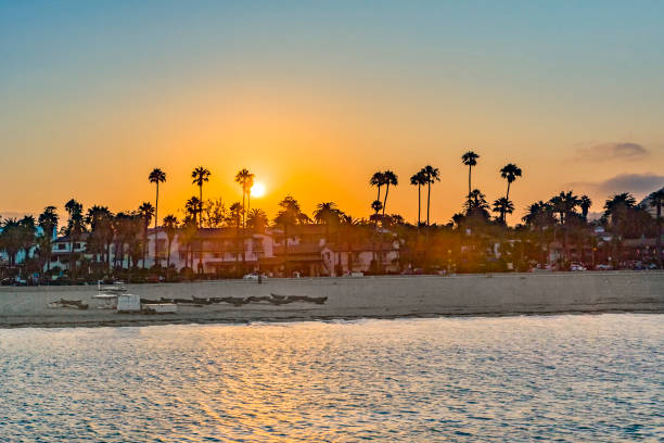 beach of Santa Barbara in sunset beach of Santa Barbara with palm trees in sunset santa barbara california stock pictures, royalty-free photos & images
