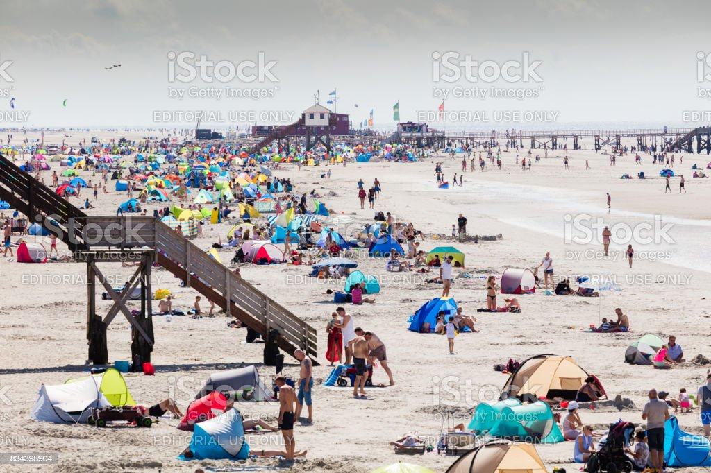 Beach of St. Peter-Ording in Germany during summer time stock photo