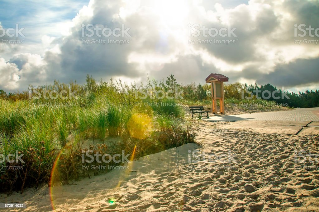 beach of the Baltic sea with beach grass and park bench in back light stock photo