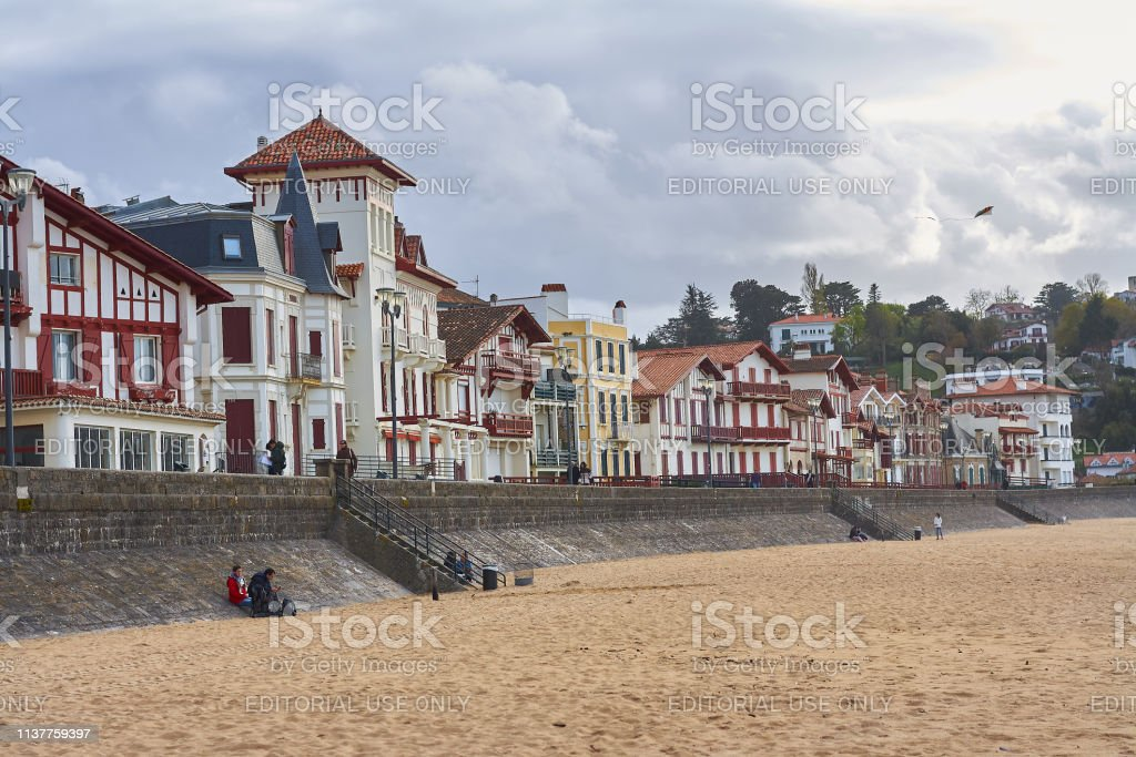 Beach of the beautiful Basque town - French, with its typical colorful architecture