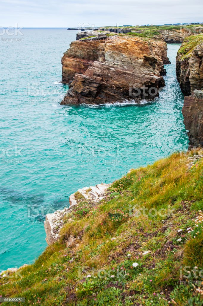 Beach of the Cathedrals, Galicia, Spain. stock photo
