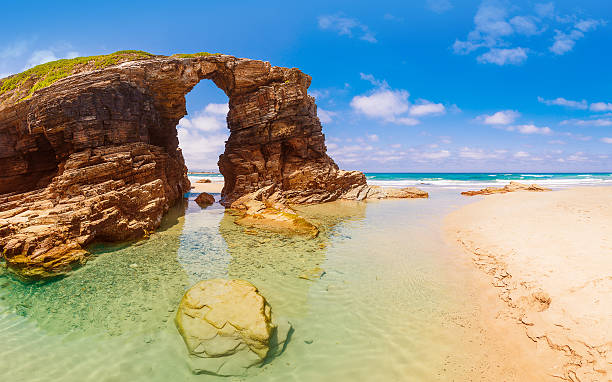 Beach of the Cathedrals Panorama Beach of the Cathedrals (As Catedrais beach) or Beach of the Holy Waters, located in Ribadeo, Galicia - Spain. galicia stock pictures, royalty-free photos & images