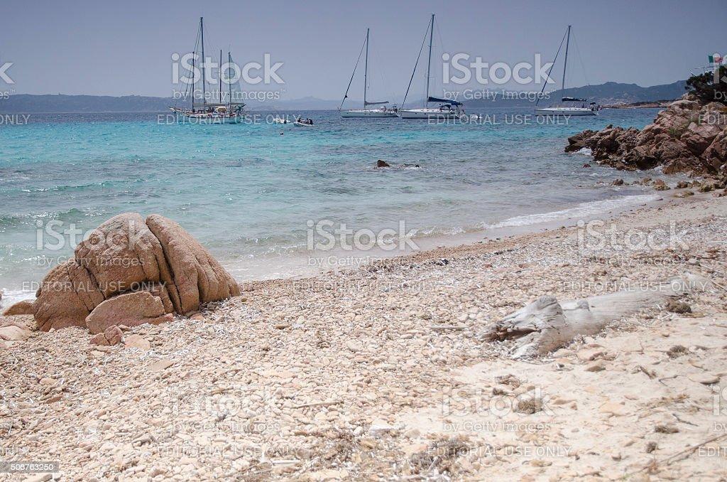 Beach of the Knights on Island Budelli stock photo