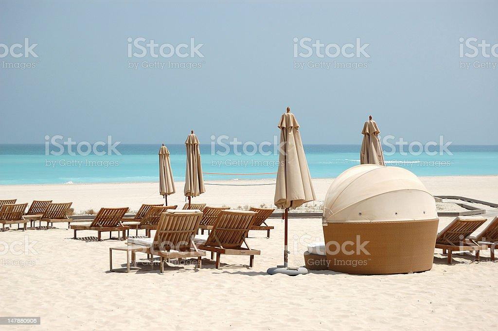 Beach of the luxury hotel, Abu Dhabi, UAE royalty-free stock photo