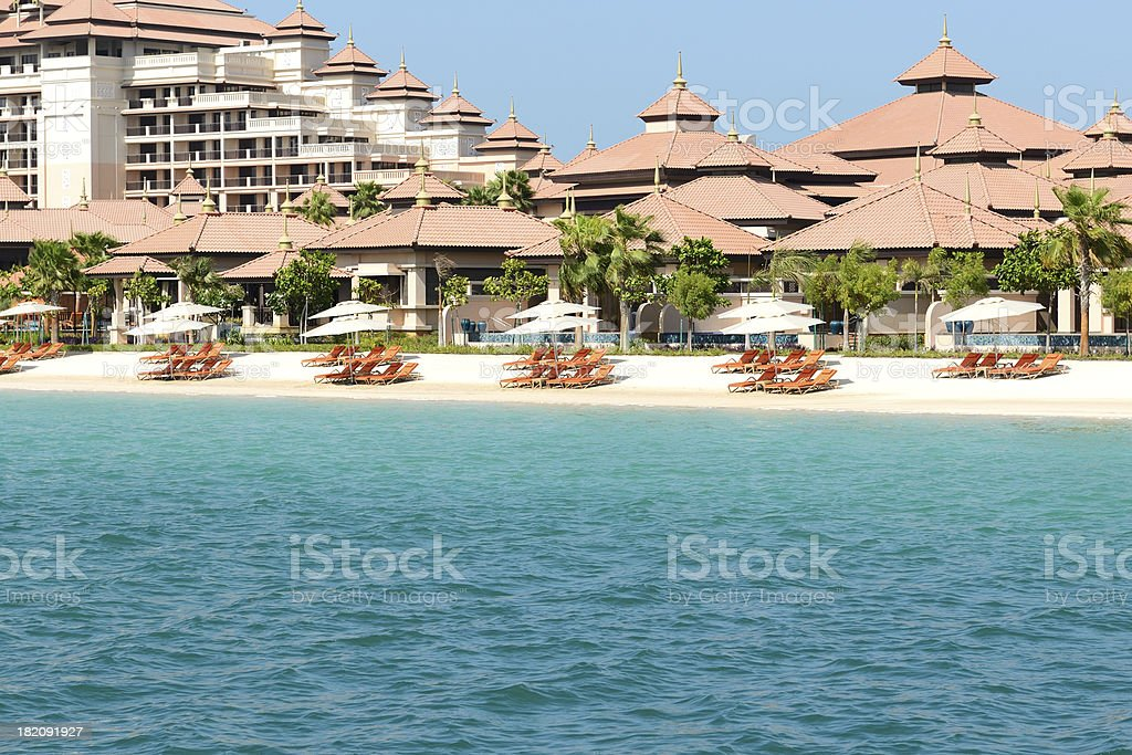 Beach of the luxury Thai style hotel on Palm Jumeirah stock photo