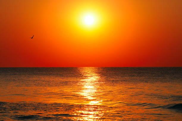 Strand des Ozeans und roter Sonnenaufgang. – Foto