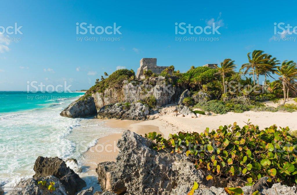 Beach of Tulum stock photo