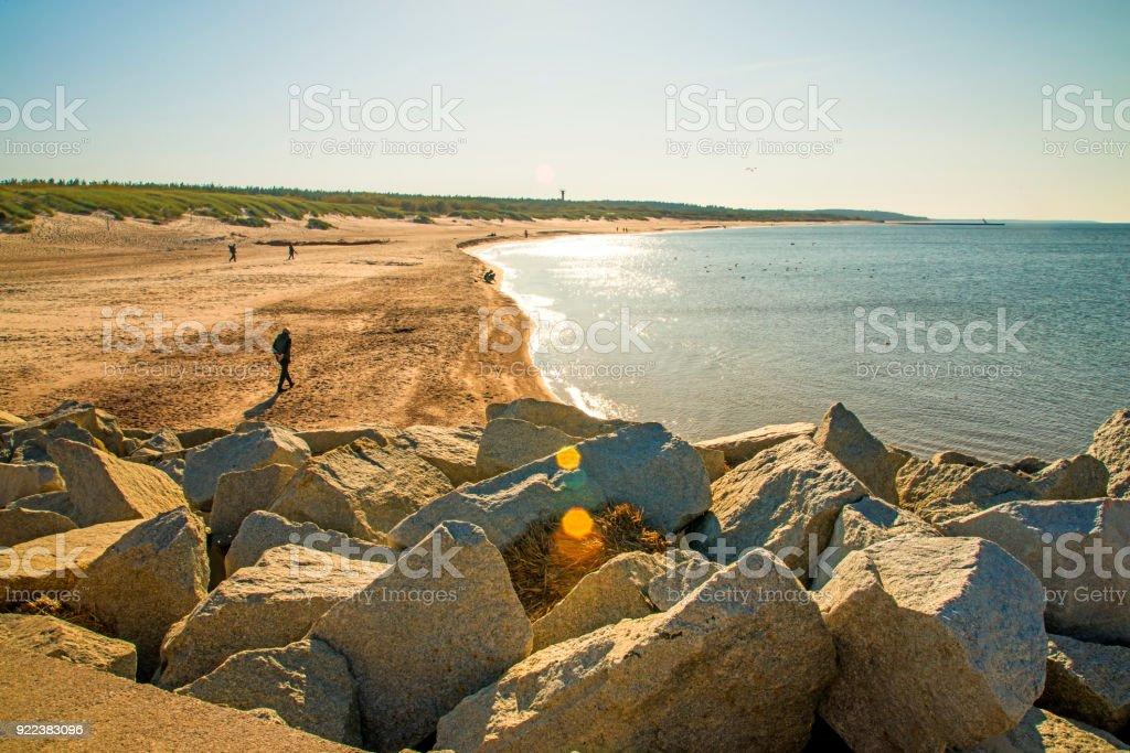 beach of Ustka, Baltic Sea, Poland stock photo