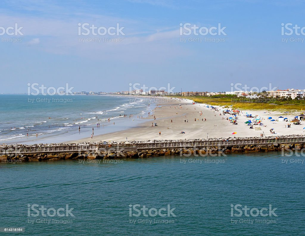 Beach on 4th of July stock photo