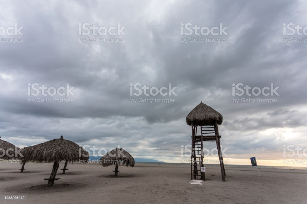 beach on a stormy day stock photo