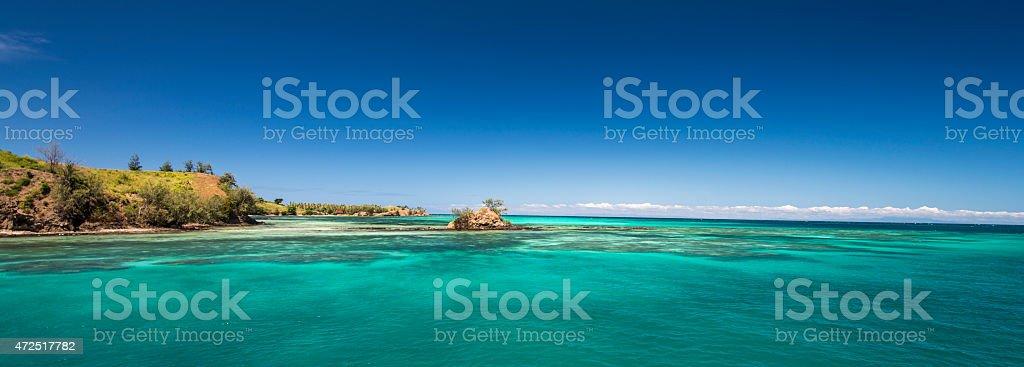Beach on an uninhabited island (Fiji) with Palm Trees stock photo