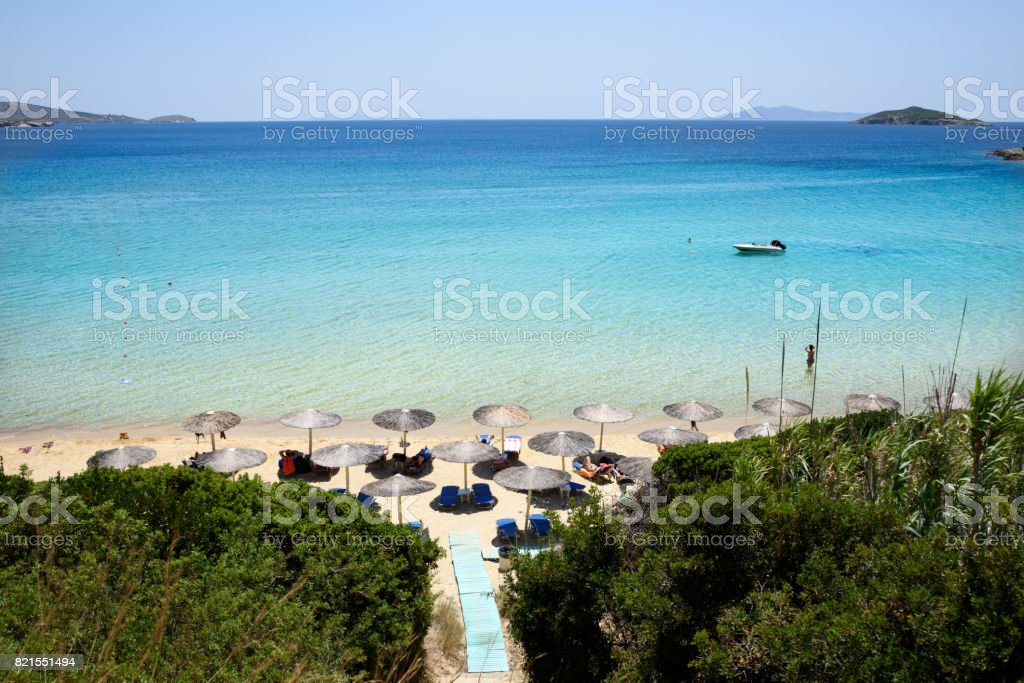 Beach on Andros Island Greece stock photo