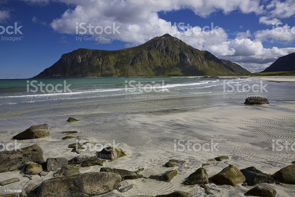 Beach on Flakstadoya royalty-free stock photo