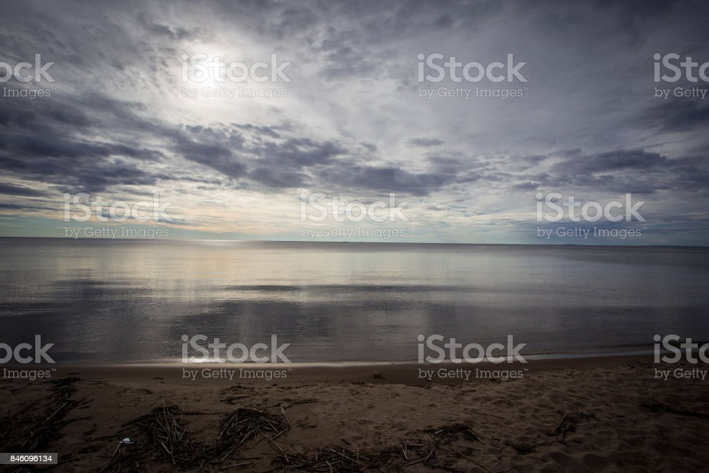 Beach on Lake Michigan stock photo