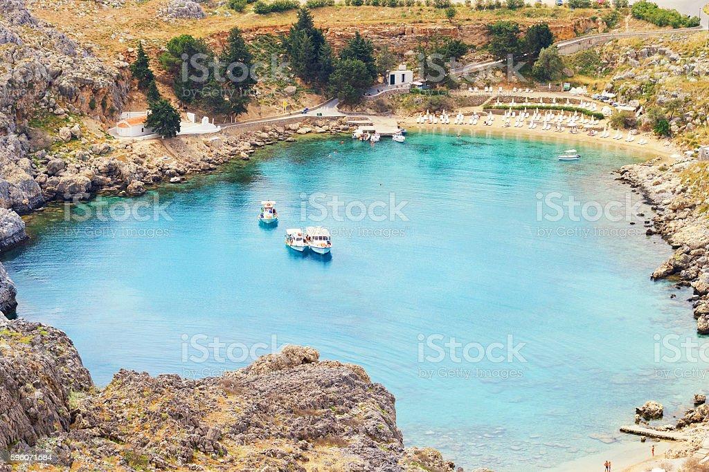 Beach on Lindos island royalty-free stock photo