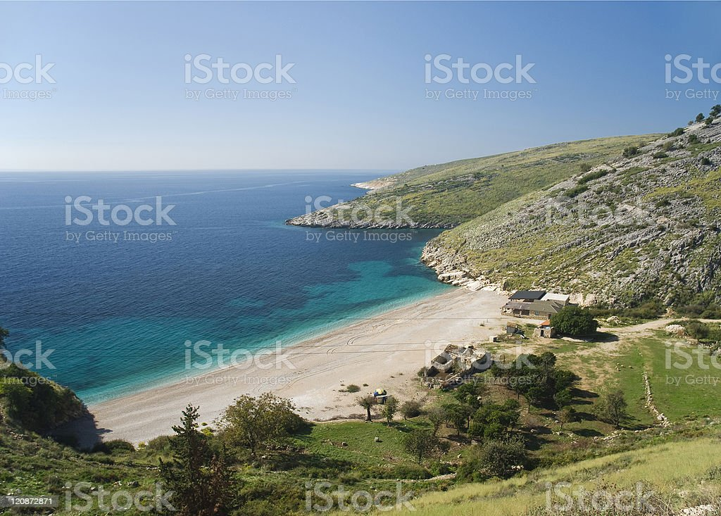 beach on south albania ionian coast stock photo