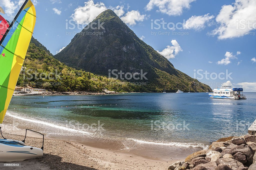 beach on St. Lucia stock photo