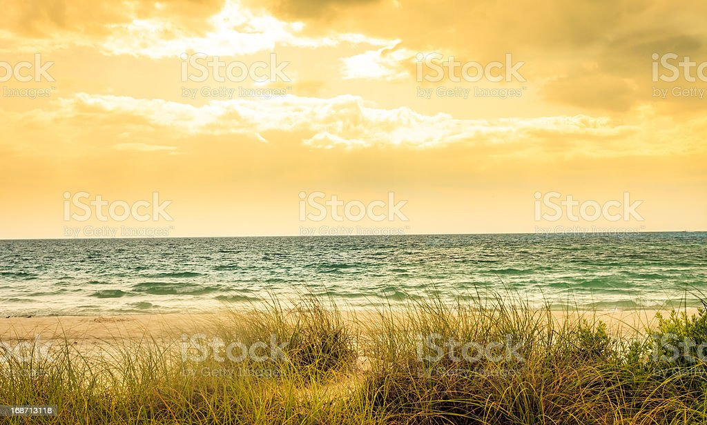 Beach on Stormy Day - Golden Vintage Colors stock photo