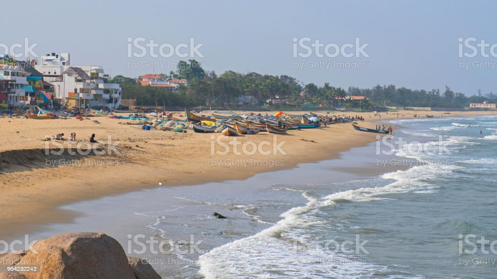 Beach on the Bay of Bengal stock photo