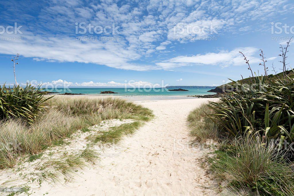 Beach on the channel island of Herm, UK, Europe stock photo