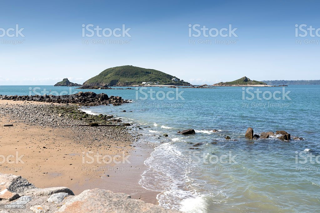 Beach on the channel island of Herm, UK stock photo