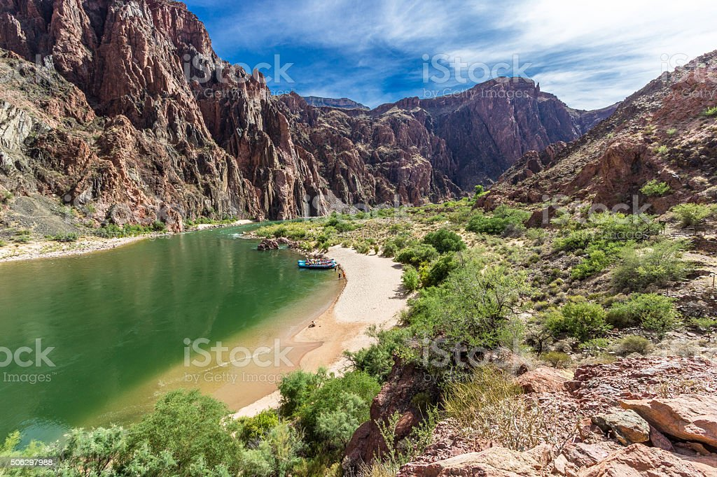 Beach On The Colorado River In The Grand Canyon stock photo