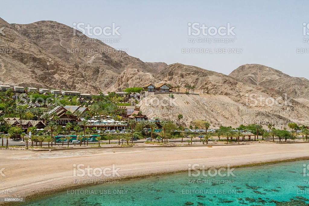 Beach on the Red Sea, gulf of Aqaba, Eilat, Israel stock photo