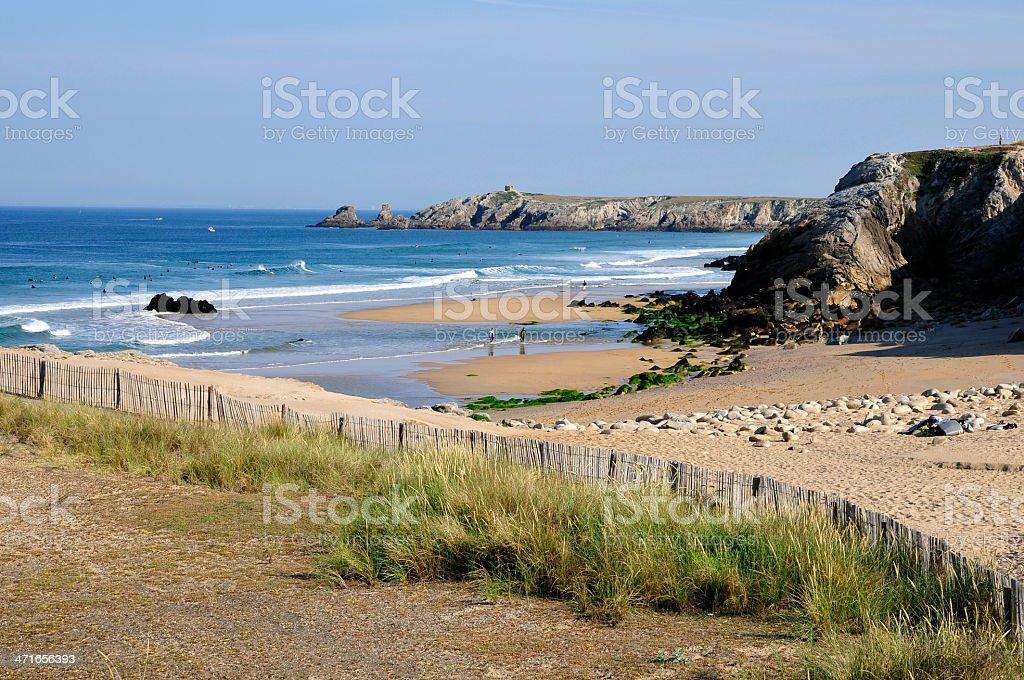 Beach on the wild coast at Quiberon stock photo