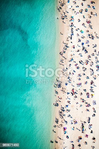 Drone point of view of crowded beach in Mediterranean Sea.