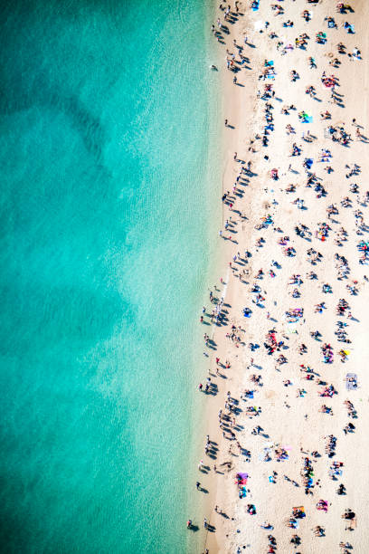 Beach overhead view stock photo