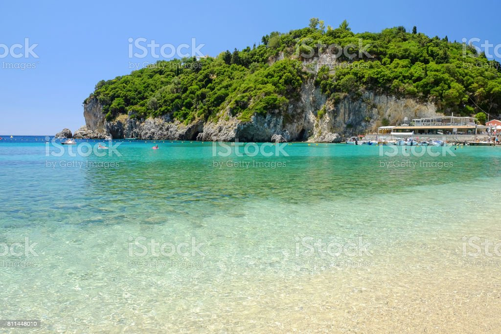 Beach Paleokastritsa on the Island Corfu, Greece. stock photo