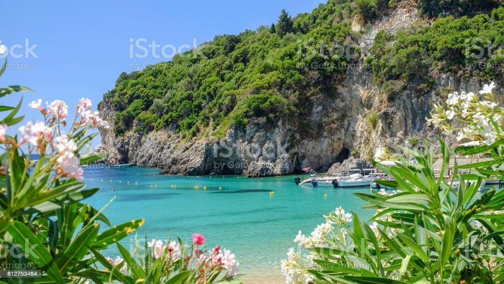 Beach Paleokastritsa on the Island Corfu, Greece. stock photo