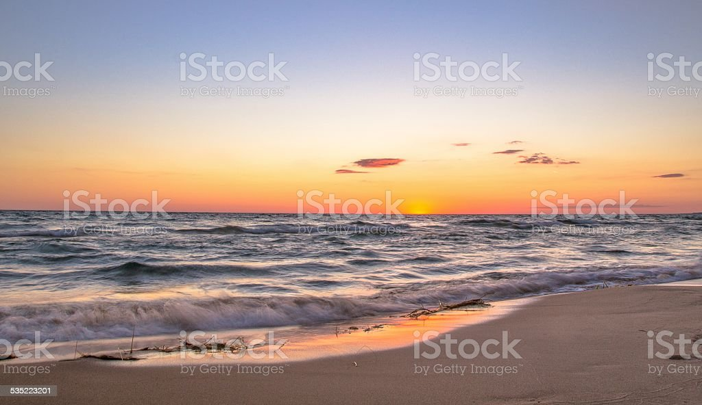 Beach Panorama At Sunset With Copy Space stock photo