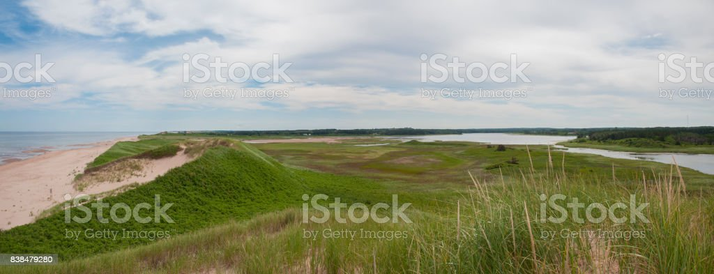 Beach panorama in Prince Edward Island stock photo