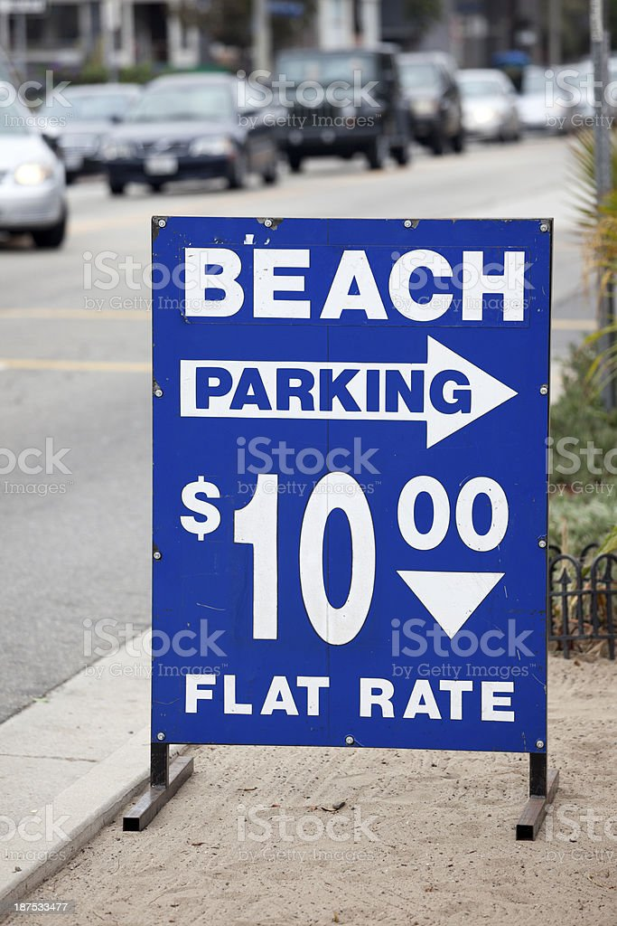 Beach Parking Sign, Venice, Los Angeles California royalty-free stock photo