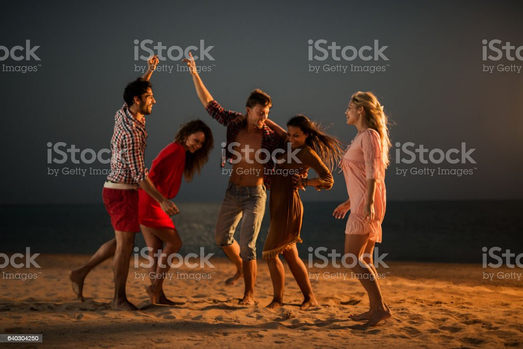 Beach party at night! stock photo