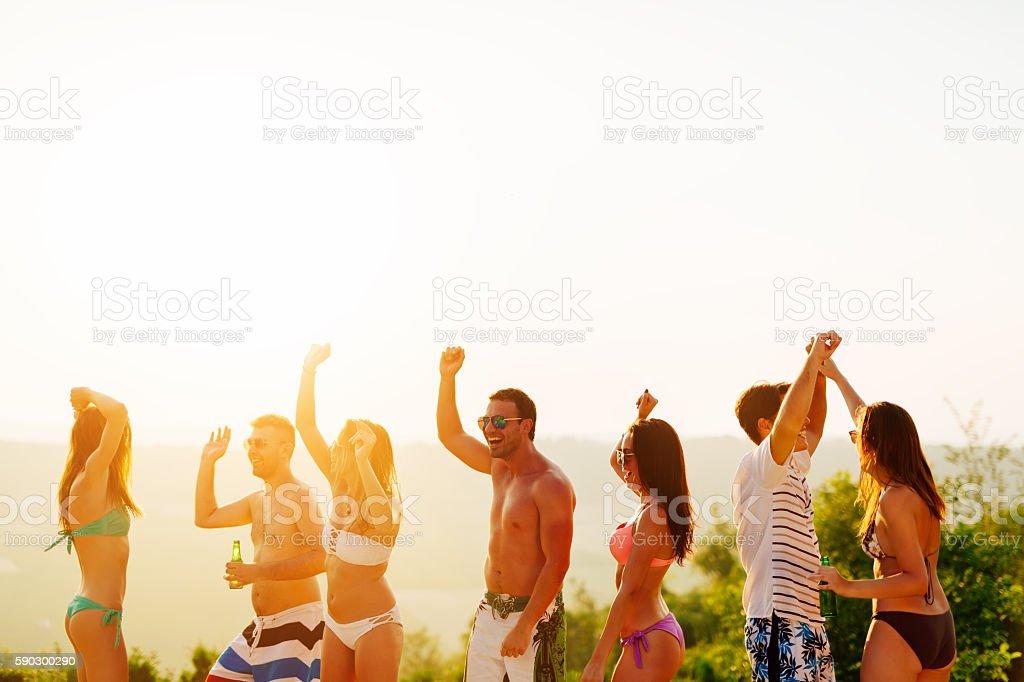 Beach party during summer royaltyfri bildbanksbilder