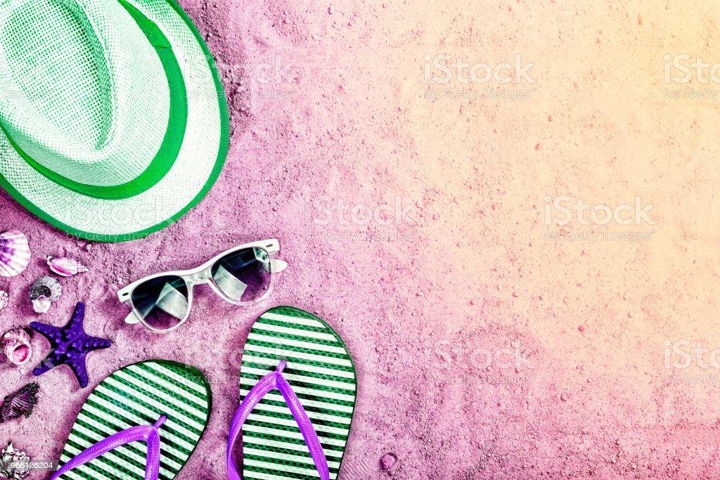 beach party, summer sand background, neon lights, toned photo, sea, summer, top view, copy space - Royalty-free Arrival Stock Photo