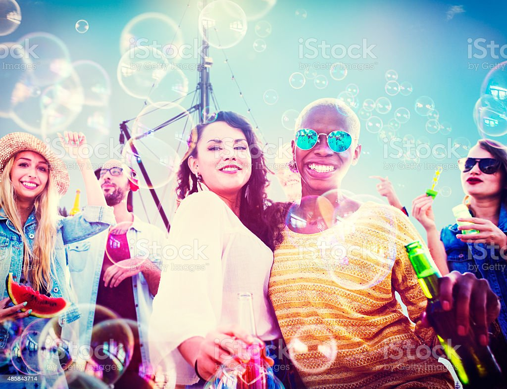 Beach Party Togetherness Friendship Happiness Summer Concept stock photo