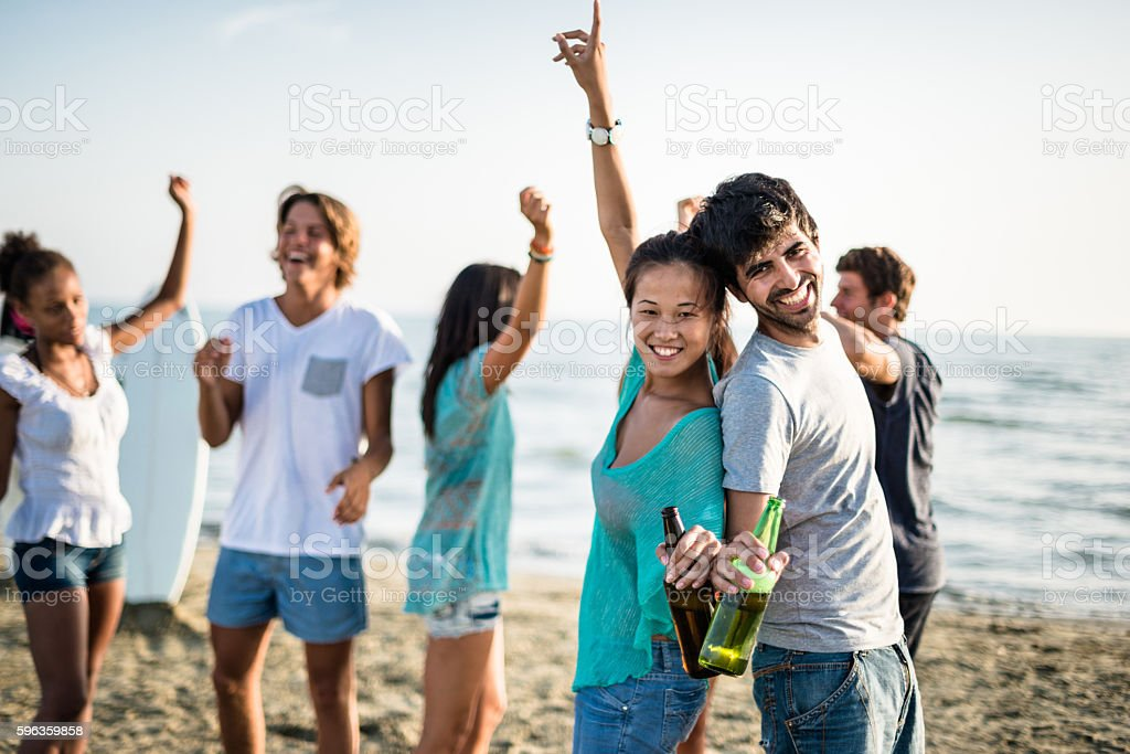 Beach party with alchohol royalty-free stock photo
