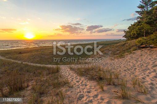 832047798istockphoto Beach Path Sunset On Sandy Beach With Dune Grass In Port Huron Michigan 1125273201