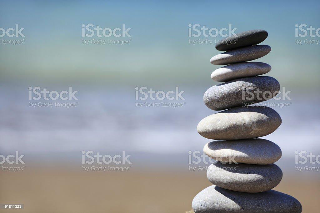 Beach pebble stack stock photo